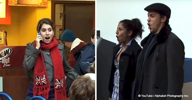 Woman randomly starting to sing at a food court gets back up from 'strangers' in the crowd