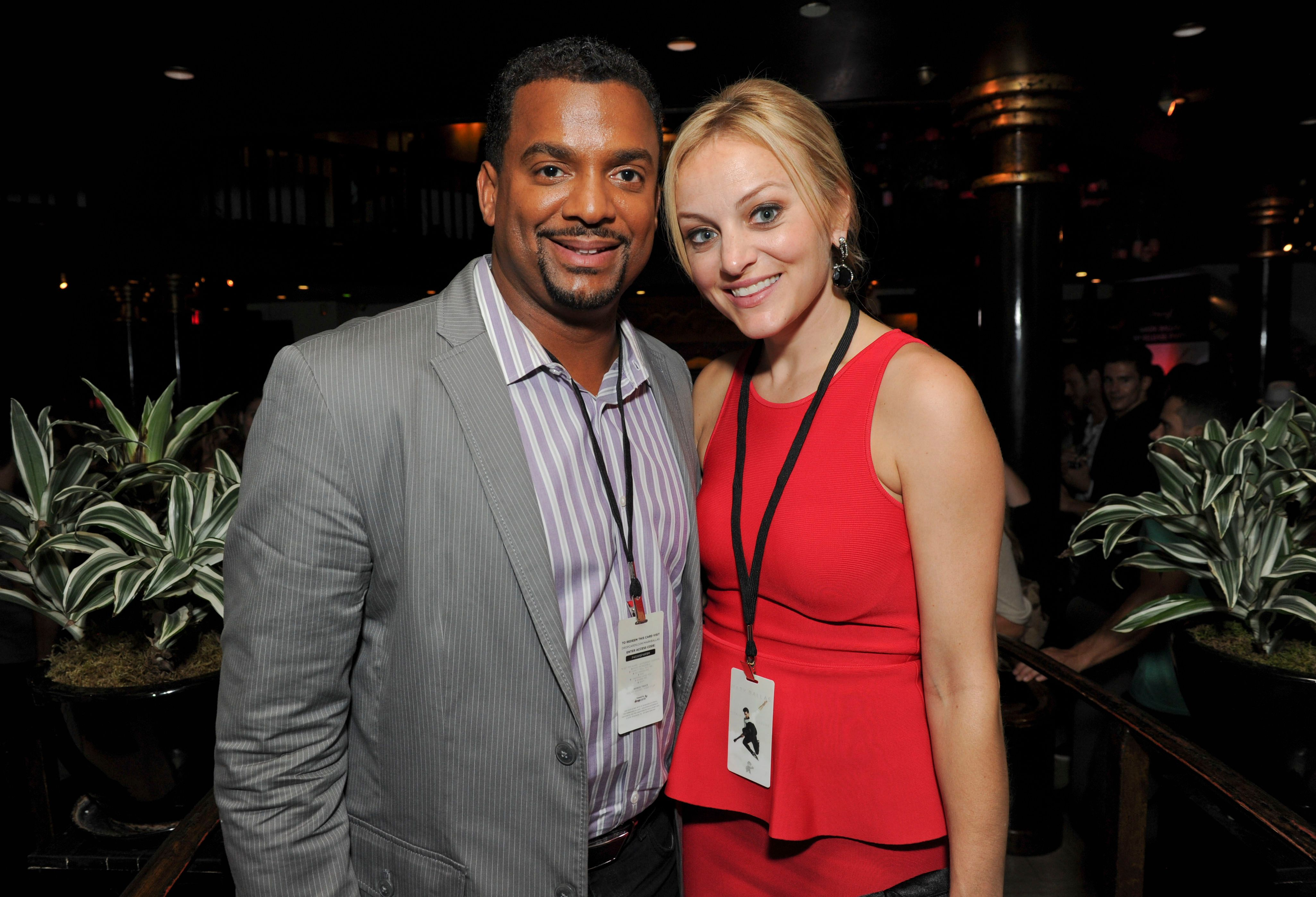 """Alfonso Ribeiro and Angela Unkrich during the Mark Ballas Debuts EP """"Kicking Clouds"""" at Crustacean on September 16, 2014 in Beverly Hills, California. 