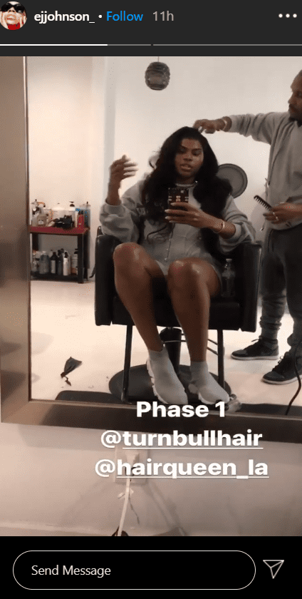 EJ Johnson during the first phase of the hair making process on his Instagram story | Photo: Instagram / ejjohnson_