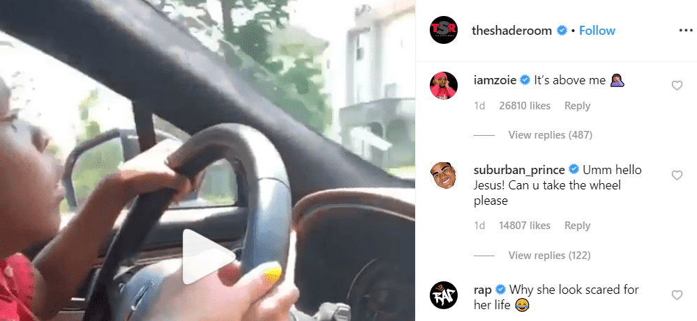 User comments on the video of Young Thug's daughter driving. | Photo: Instagram/The Shade Room