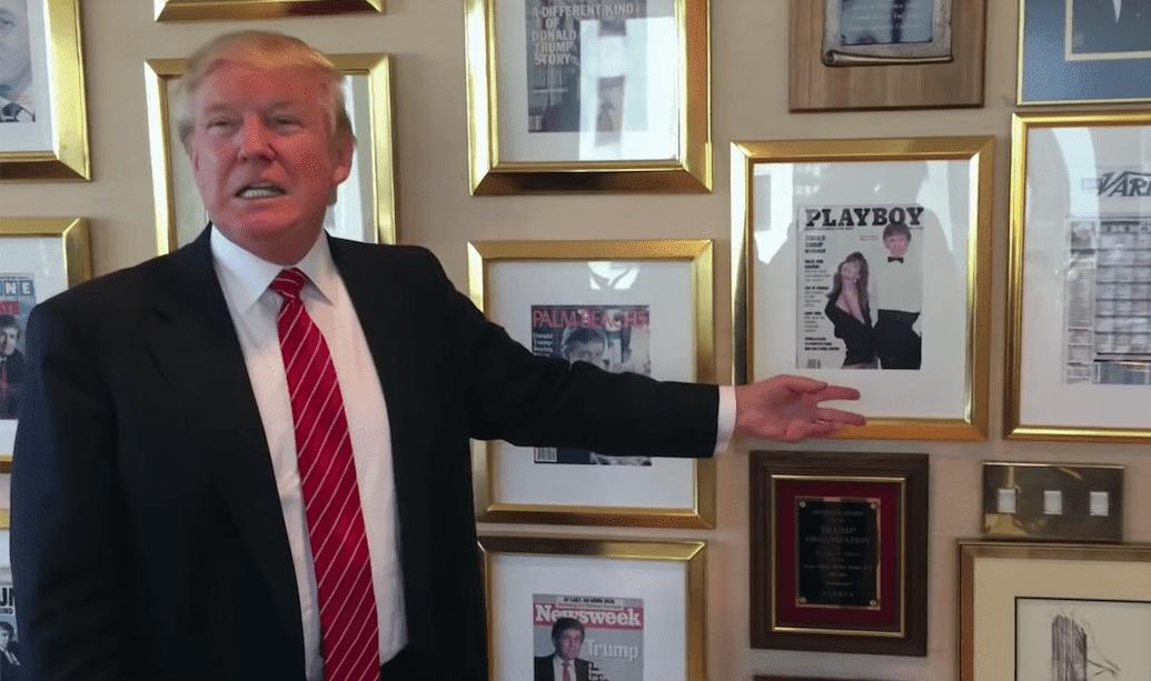 Donald Trump showing his Playboy cover. I Image: YouTube/ Washington Post.