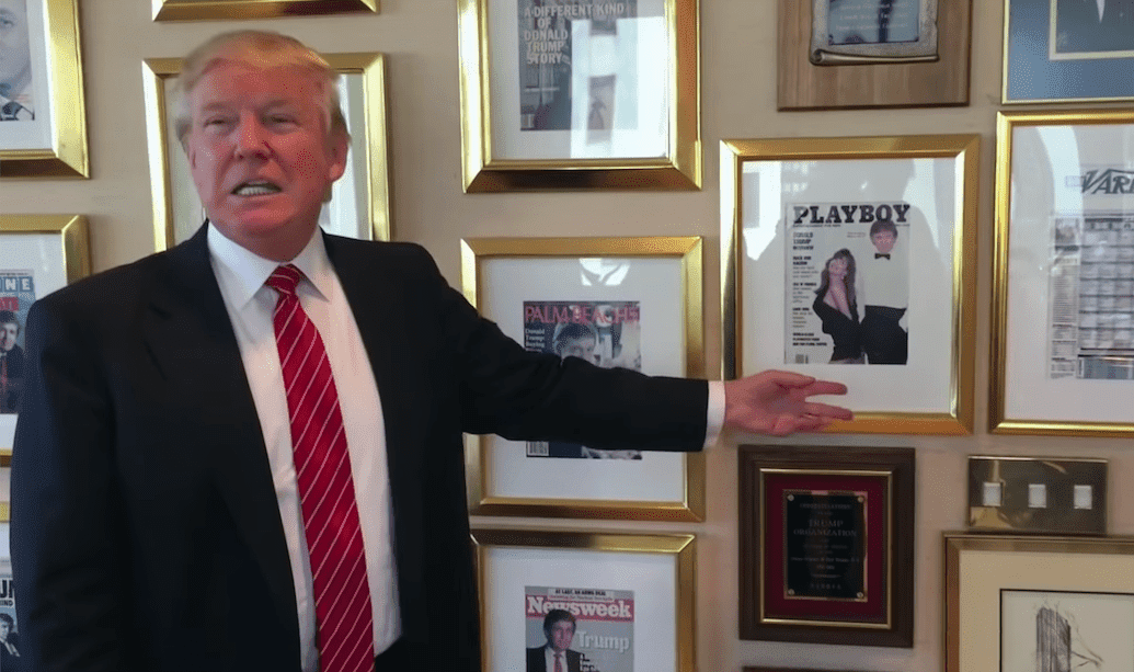 Donald Trump showing his Playboy cover. I Image: YouTube/ Washington Post.