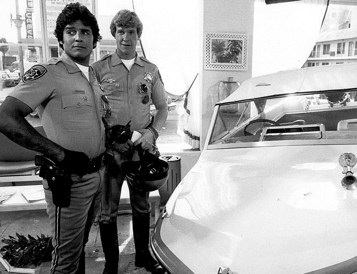 "Photo of Erik Estrada as ""Ponch"" Poncherello and Larry Wilcox as Jon Baker from the television series CHiPS. 