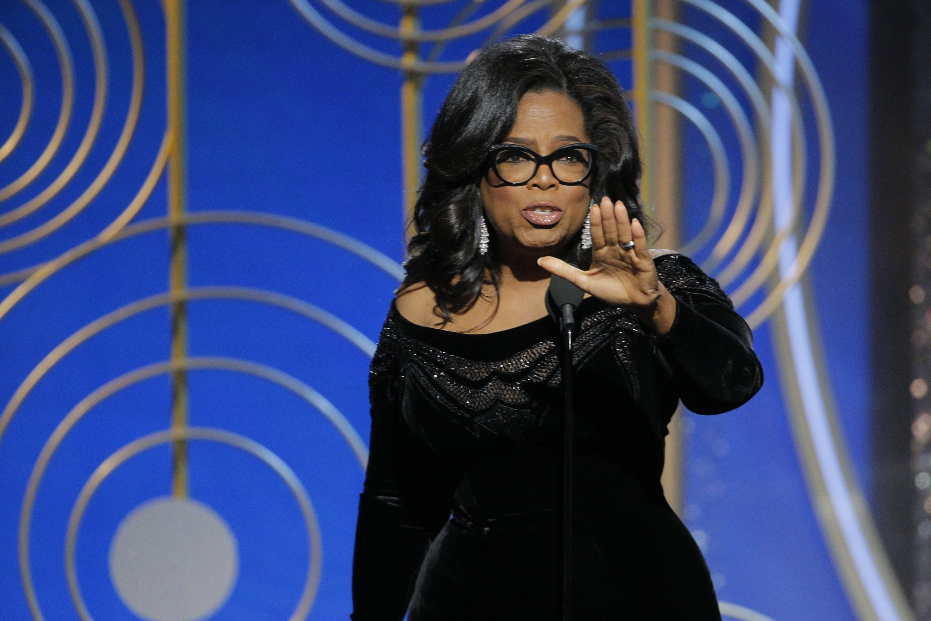 Oprah Winfrey at the 75th Annual Golden Globe Awards at The Beverly Hilton Hotel on January 7, 2018 in Beverly Hills, California. Source: Getty Images