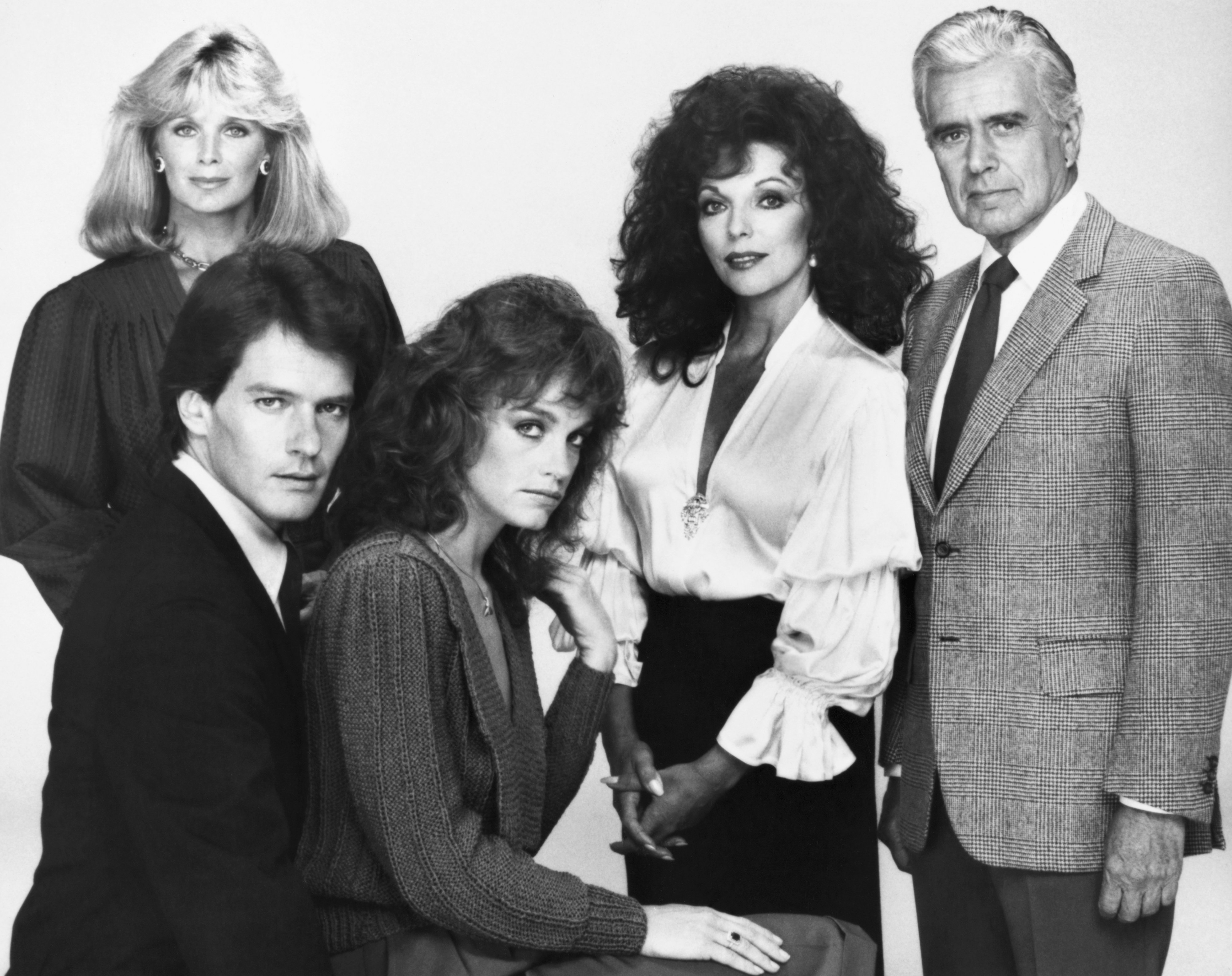 """Studio photo of """"Dynasty"""" cast taken on set in October 1981