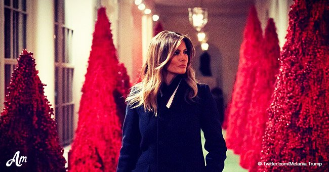 Melania Trump's blood-red trees made a splash at White House Christmas party amid backlash
