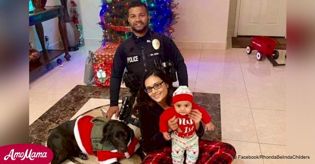 Touching photo shows officer smiling with family on Christmas Eve moments before he was slain