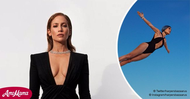 Jennifer Lopez flaunts her enviable curves while soaring to new heights in racy swimsuit