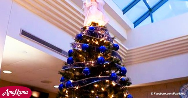 Christmas tree decorated in blue installed to honor every officer killed on duty in Indiana
