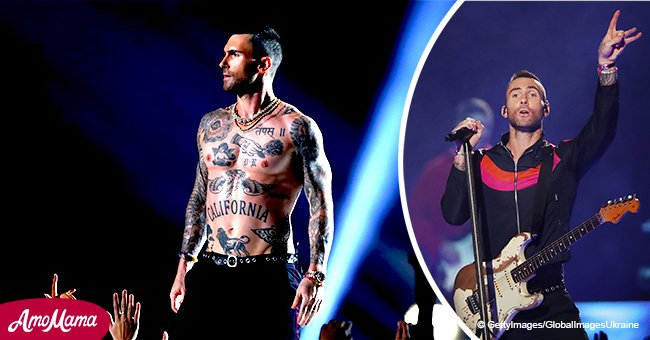 Viewers left extremely confused after Adam Levine's sweaty strip show during Super Bowl halftime