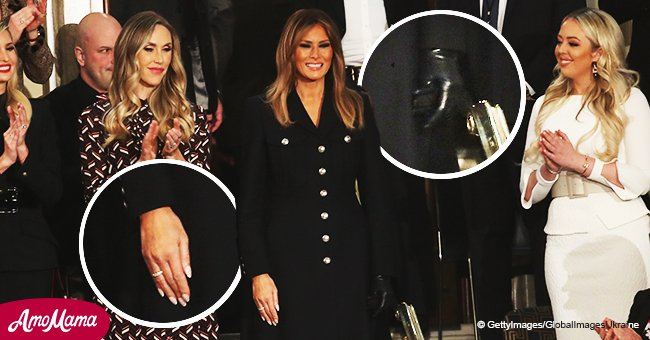 First Lady Melania Trump arrives at SOTU in military-style black dress wearing a single glove