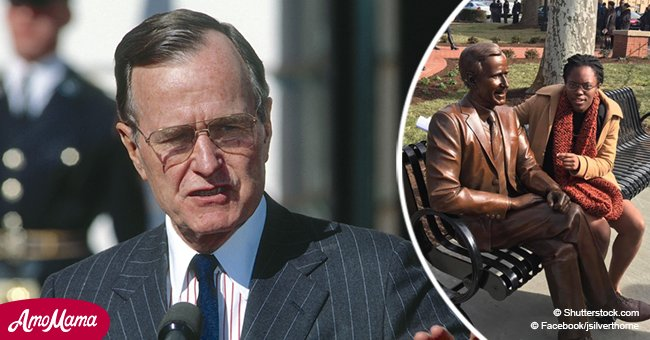 University puts up a bronze statue of George HW Bush, sparking controversy among black students