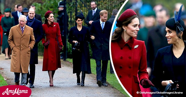 First media photos of Harry, Meghan, Kate, and William on Christmas morning at Sandringham