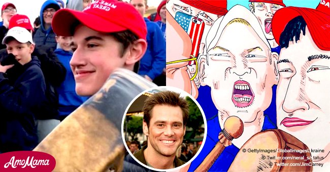 Jim Carrey reacts to situation of Kentucky teens wearing 'MAGA' hats with a mocking new picture
