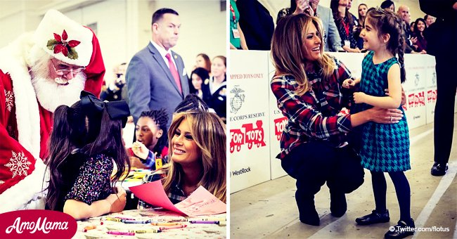 Melania Trump joins kids at US Marine Corps Reserve Toy Drive in a multicolored plaid shirt