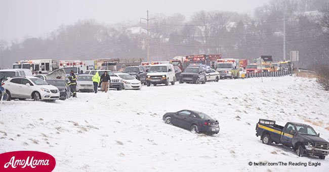 Dozens of cars stuck in 'large pile up' on Route 222 during snow squall in Wyomissing