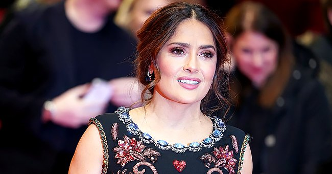 Salma Hayek Flaunts Two Massive Tattoos on Her Chest Wrapped in a Dressing Gown