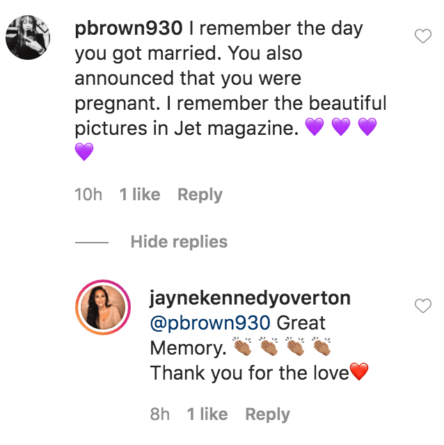 A fan commented on photos Jayne Kennedy shared in honor of her 35thwedding anniversary with Bill Overton | Source: Instagram.com/jaynekennedyoverton