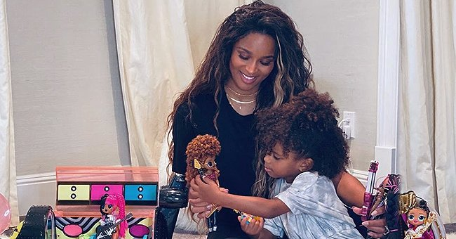 Ciara and Her Curly-Haired Daughter Sienna Play with Dolls While Posing for a New Family Photo