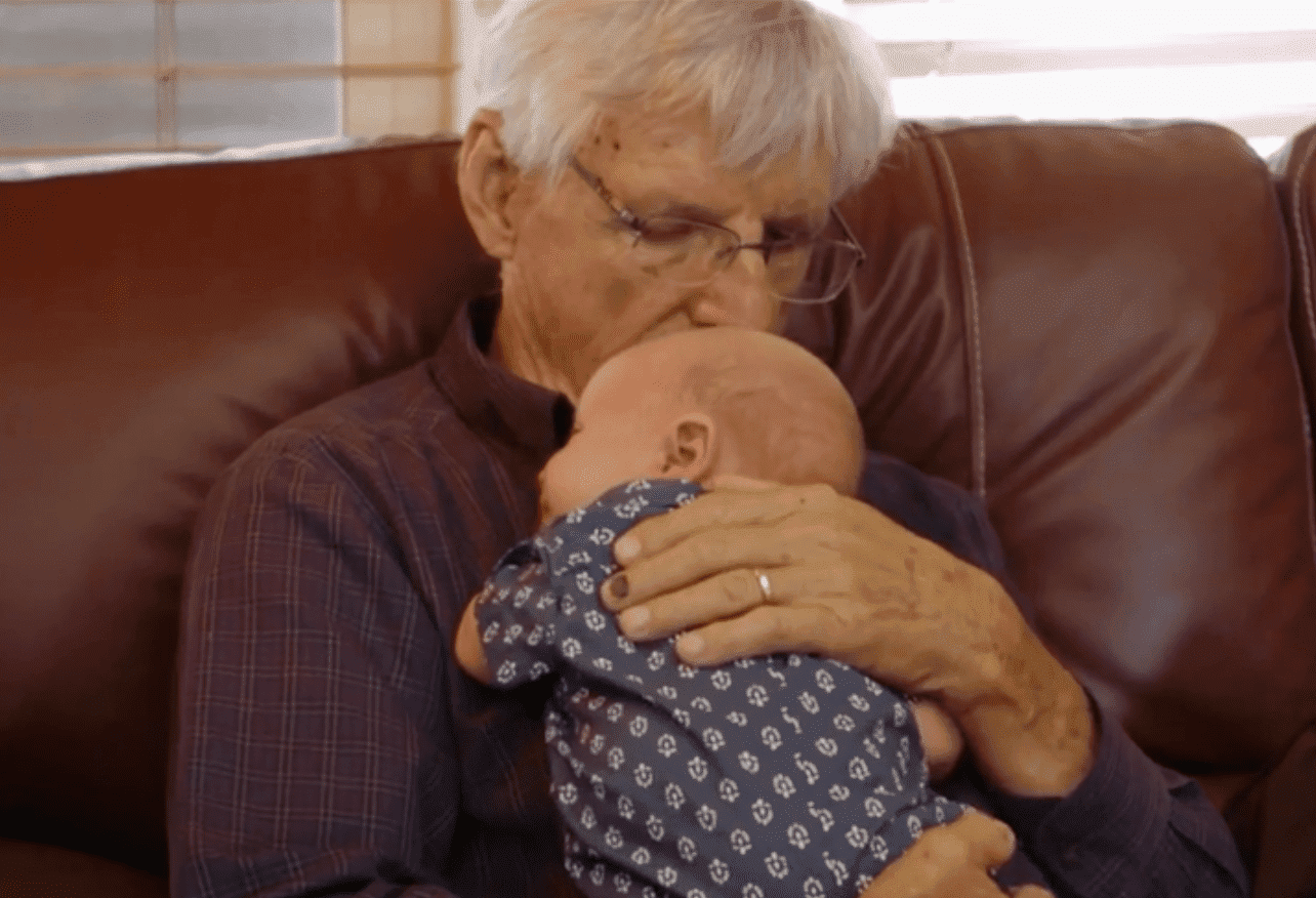 """During """"Little People, Big World's"""" episode titled, """"Four Generations of Roloffs,"""" Ron Rollof cuddles with his great grandson, Jackson Roloff 