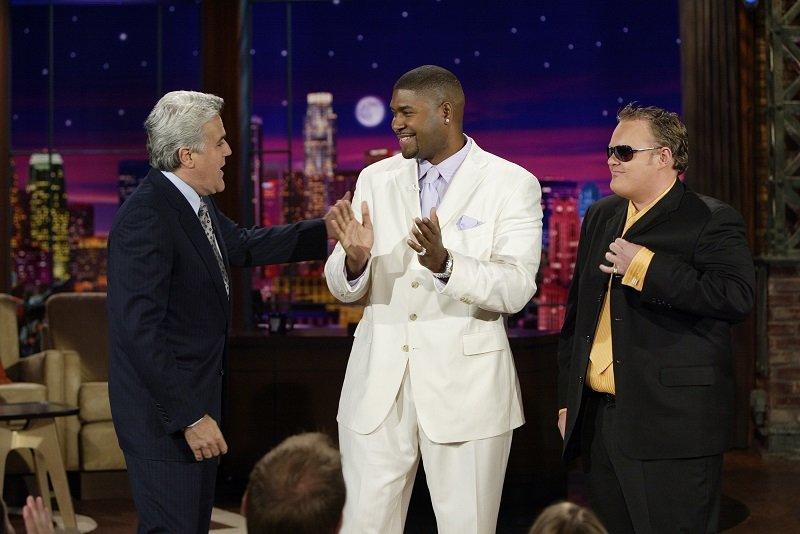 """Jay Leno, Tariq Nasheed, and Matt Mitchell during an episode of """"The Tonight Show with Jay Leno"""" on August 3, 2005 