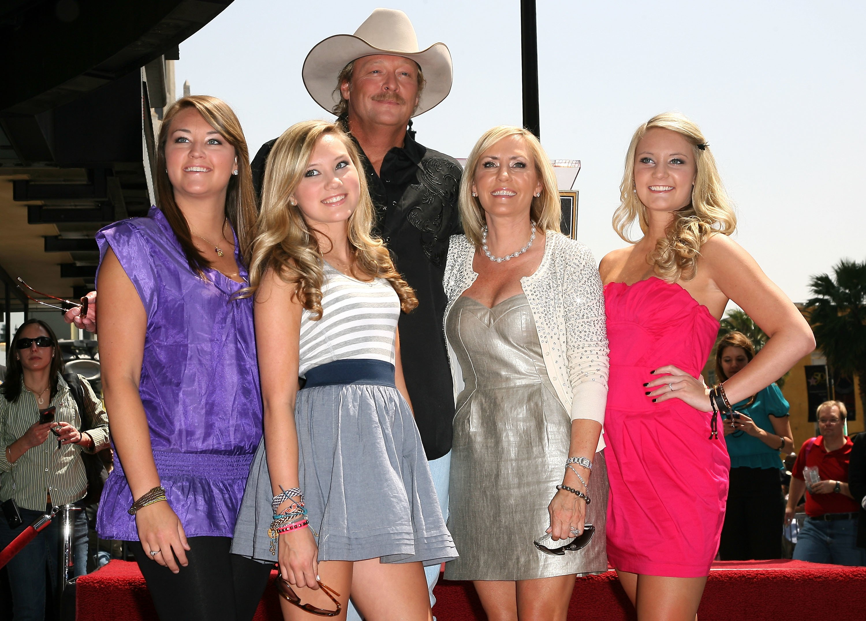Alan Jackson attends his Hollywood Walk Of Fame Induction Ceremony with (L-R) daughter Mattie, daughter Dani, wife Denise and daughter Ali on April 16, 2010 in Hollywood, California. | Source: Getty Images