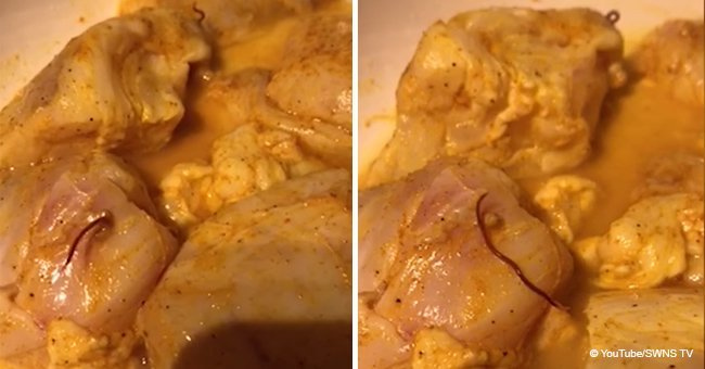 Horrifying moment live worms crawl out of fish bought from a popular supermarket
