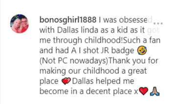 Another fan comment on Linda's post for Larry Hagman| Instagram: @lindagray_