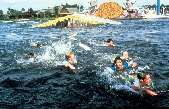 People try to swim away from the shark in a scene from the film 'Jaws: The Revenge', 1987. | Source: Getty Images