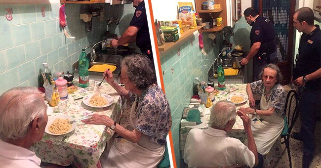 Police discover an elderly couple crying in their apartment and later ate dinner with them   Photo: Facebook/@questuradiroma