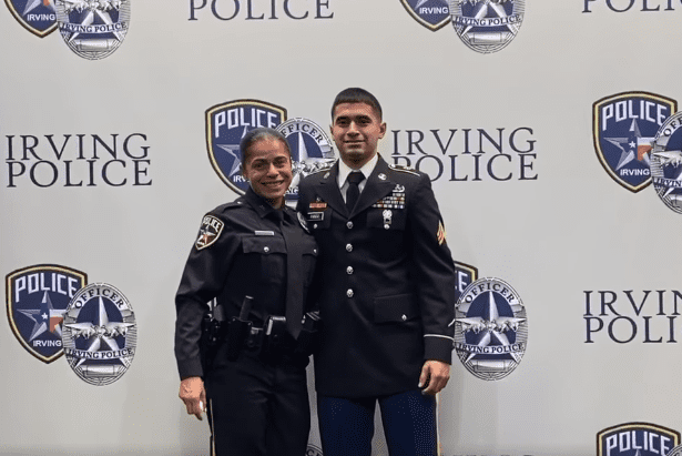 Erika Benning and her son Giovanni Pando attend her swearing-in ceremony as a police officer for the Irving Police Department in Dallas, Texas. | Source: Facebook/Irving Police Department.