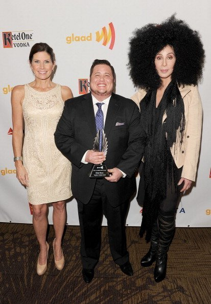 Mary Bono Mack, Chaz Bono and Cher backstage at the 23rd Annual GLAAD Media Awards presented by Ketel One and Wells Fargo held at Westin Bonaventure Hotel on April 21, 2012, in Los Angeles, California. | Source: Getty Images.