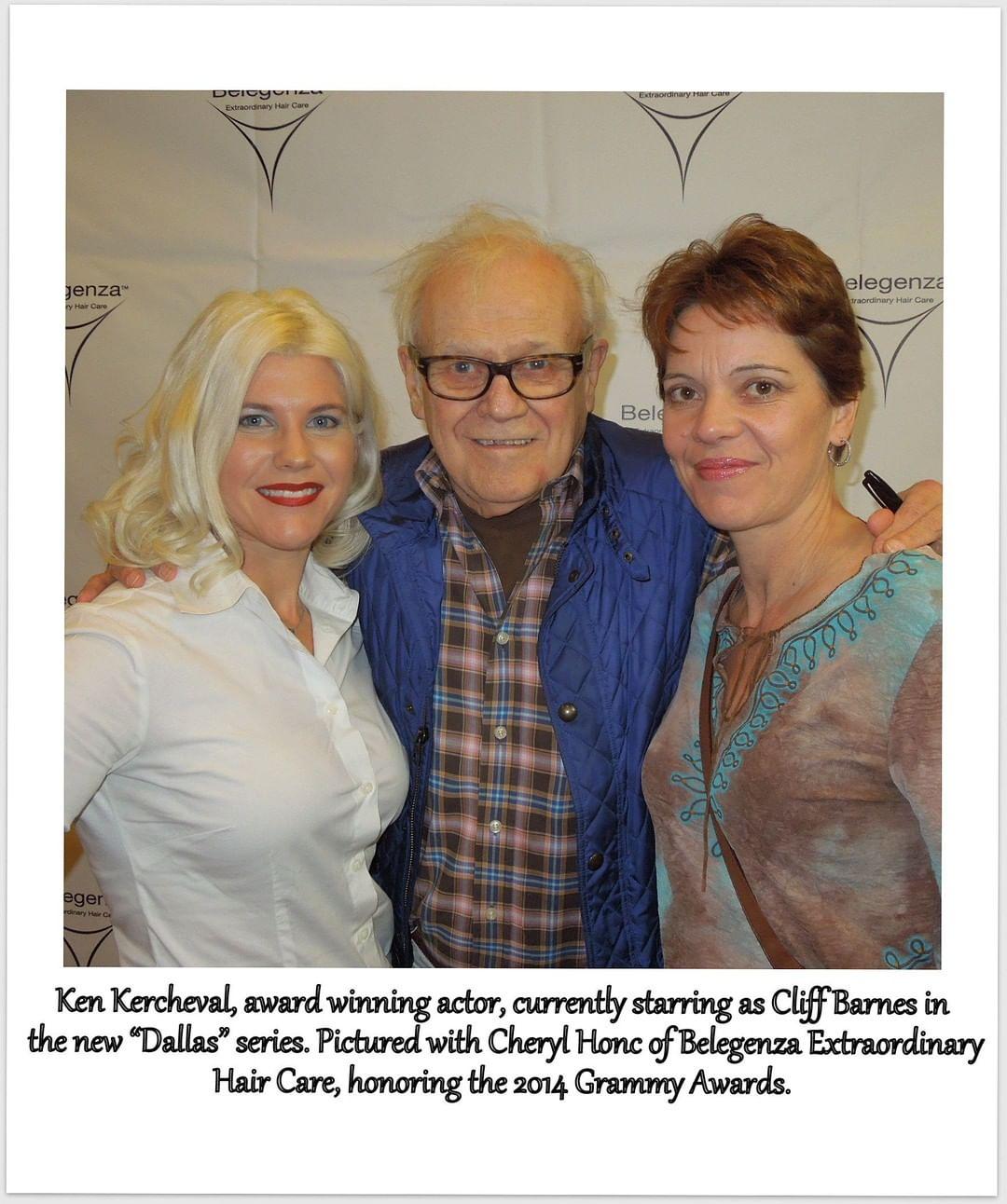 Ken Kercheval, acteur primé, sur la photo avec Cheryl Honc de Beleganza Extraordinary Hair Care, durant les Grammy Awards de 2014. | Webstagram/@belegenza