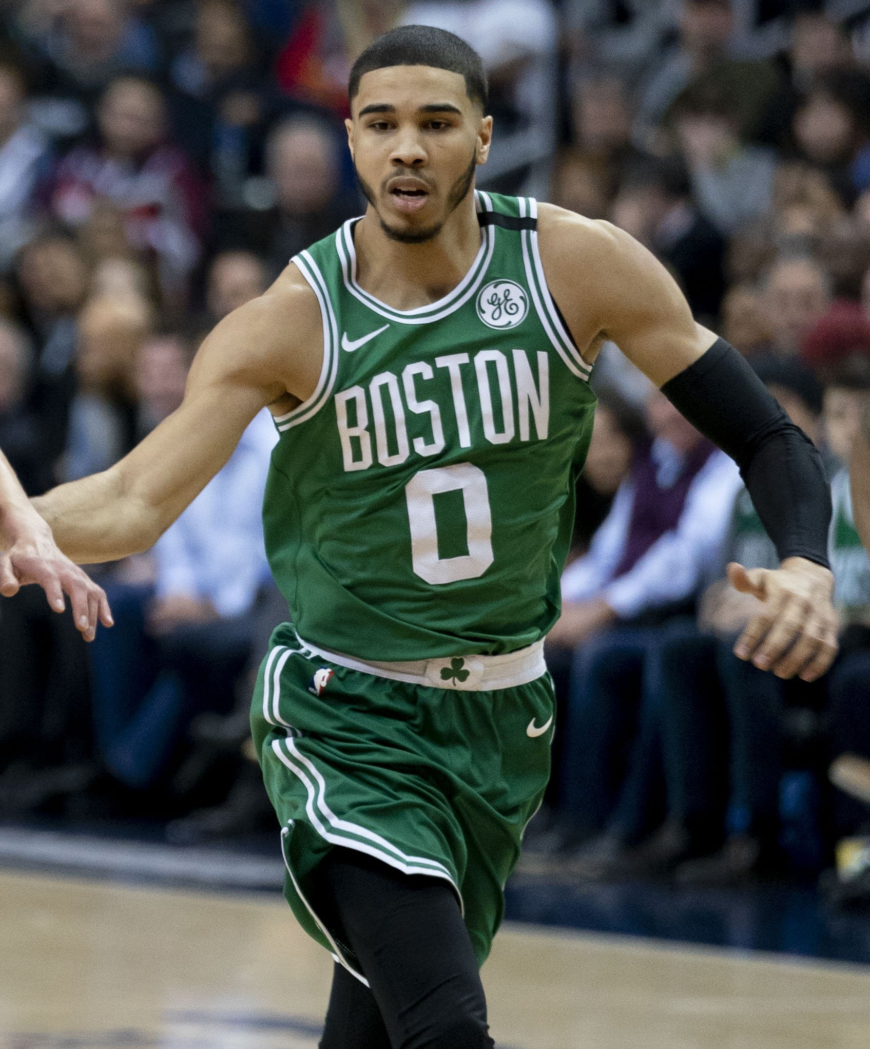 Jayson Tatum of the Celtics at a game against the Wizards on 8 October, 2018.  | Photo by Keith Allison, Jayson Tatum (2018), CC BY-SA 2.0, Wikimedia Commons