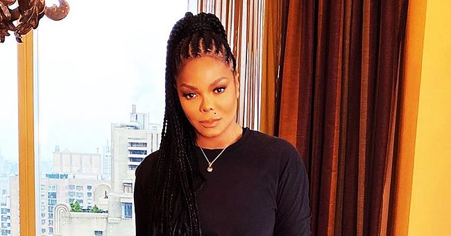 Janet Jackson Fashions All-Black Look Wearing an Oversized Fur Coat in London