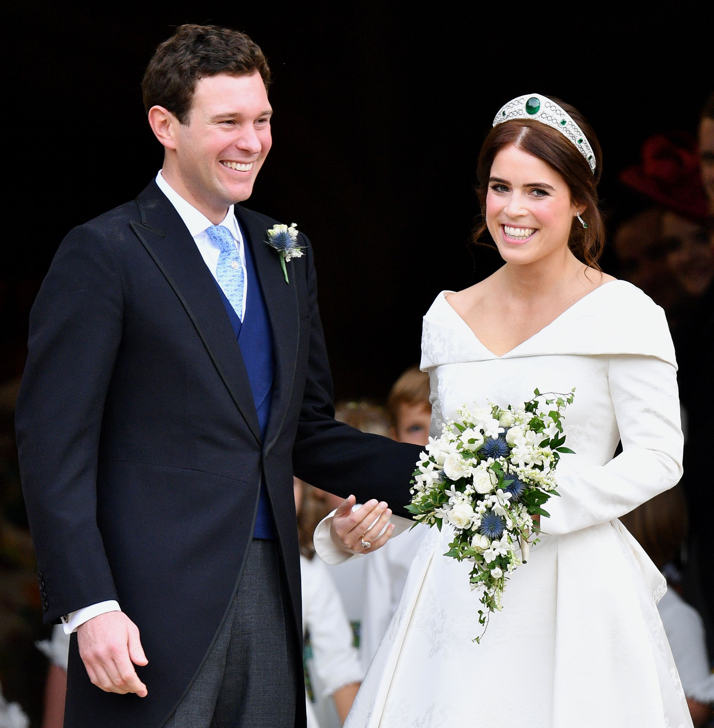 Princess Eugenie and Jack Brooksbank leaving St George's Chapel after their wedding on October 12, 2018 in Windsor, England   Source: Getty Images