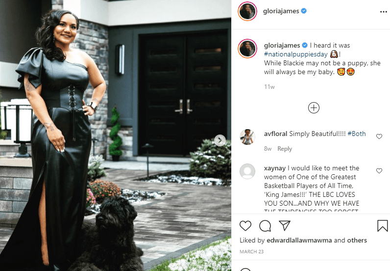 Lebron James' mom, Gloria James in a beautiful black gown and a black dog on Instagram | Photo: Instagram/gloriajames