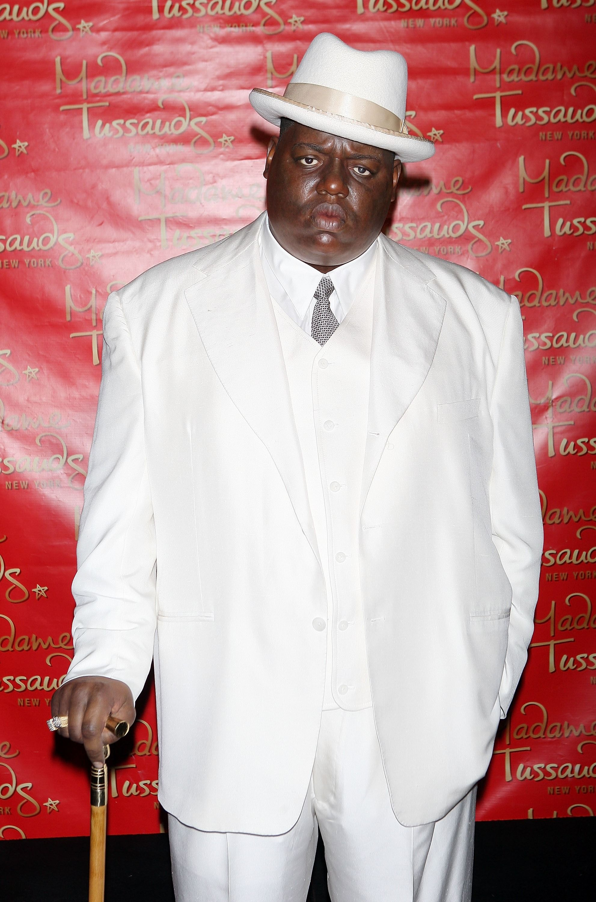 A wax figure of Christopher 'Biggie Smalls' Wallace on display in Times Square on October 25, 2007 in New York. | Photo: Getty Images