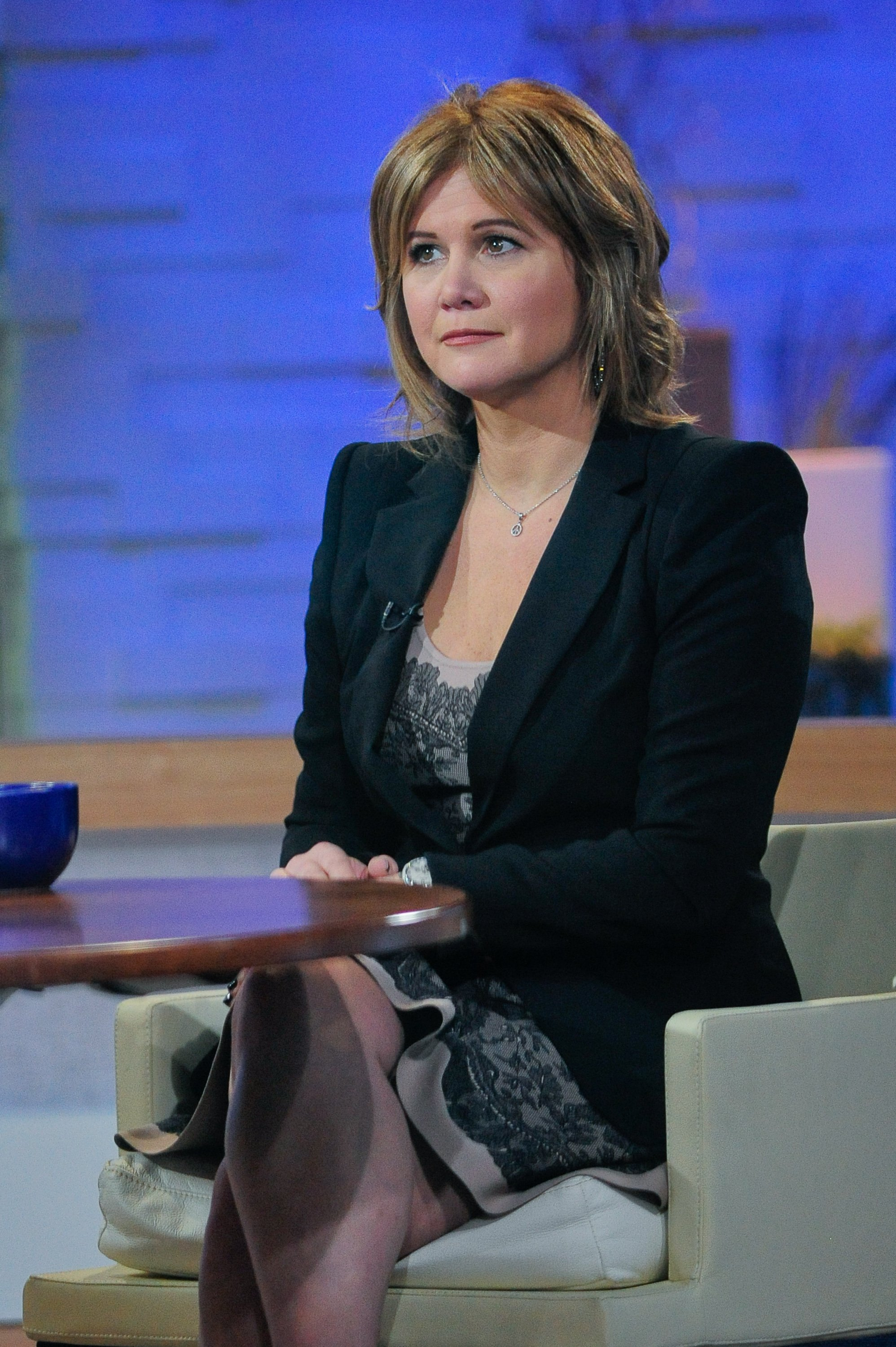 "Tracey Gold tapes an interview at ""Good Morning America"" at the ABC Times Square Studio on November 28, 2011. 