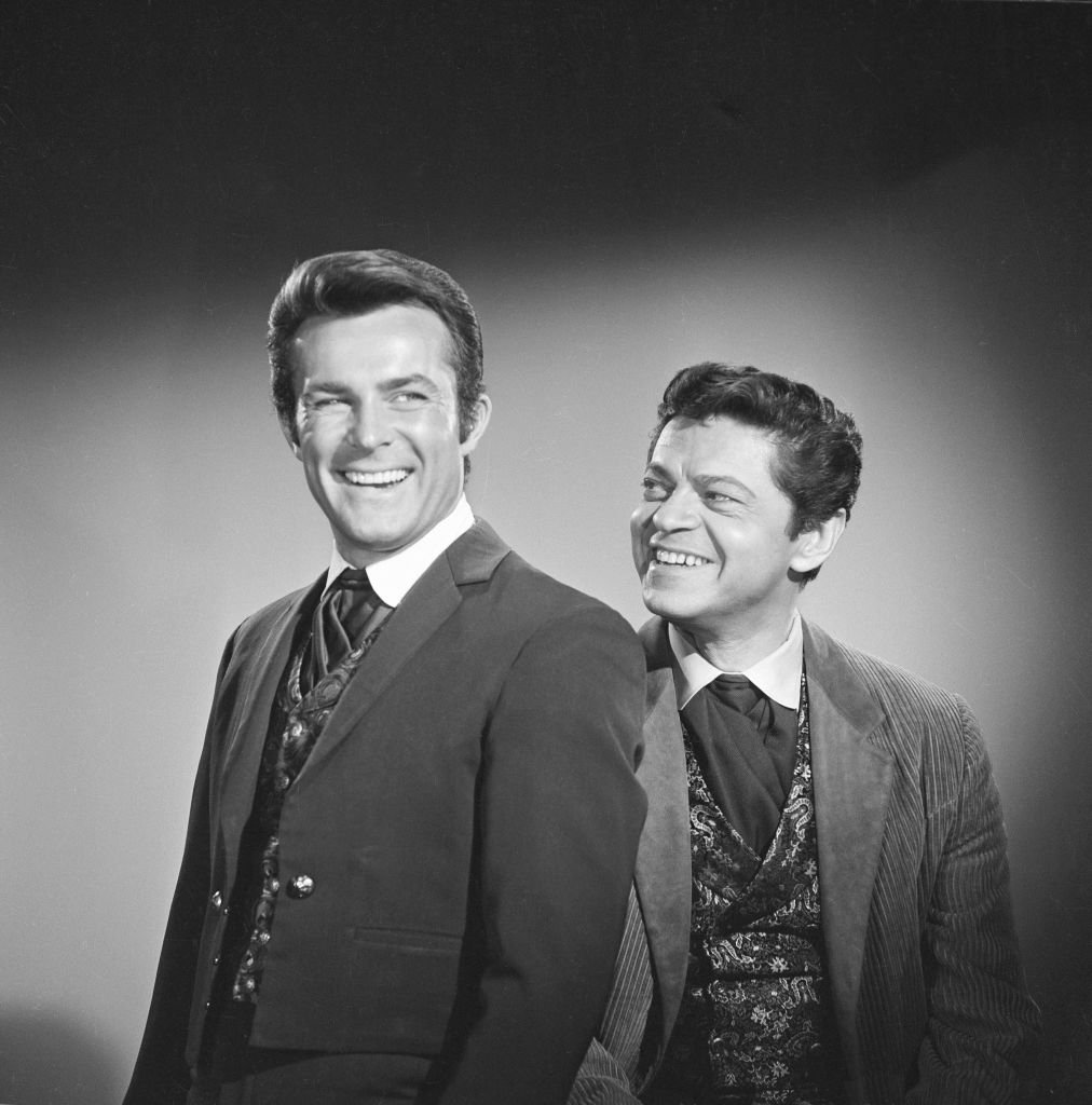 "A 1967 promotional portrait of Ross Martin and co-star Robert Conrad for ""The Wild Wild West"" television series. 