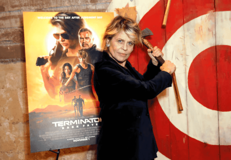 "Linda Hamilton takes part in a axe throwing event before the screening of ""Terminator: Dark Fate,"" on October 29, 2019, in Hollywood, California 