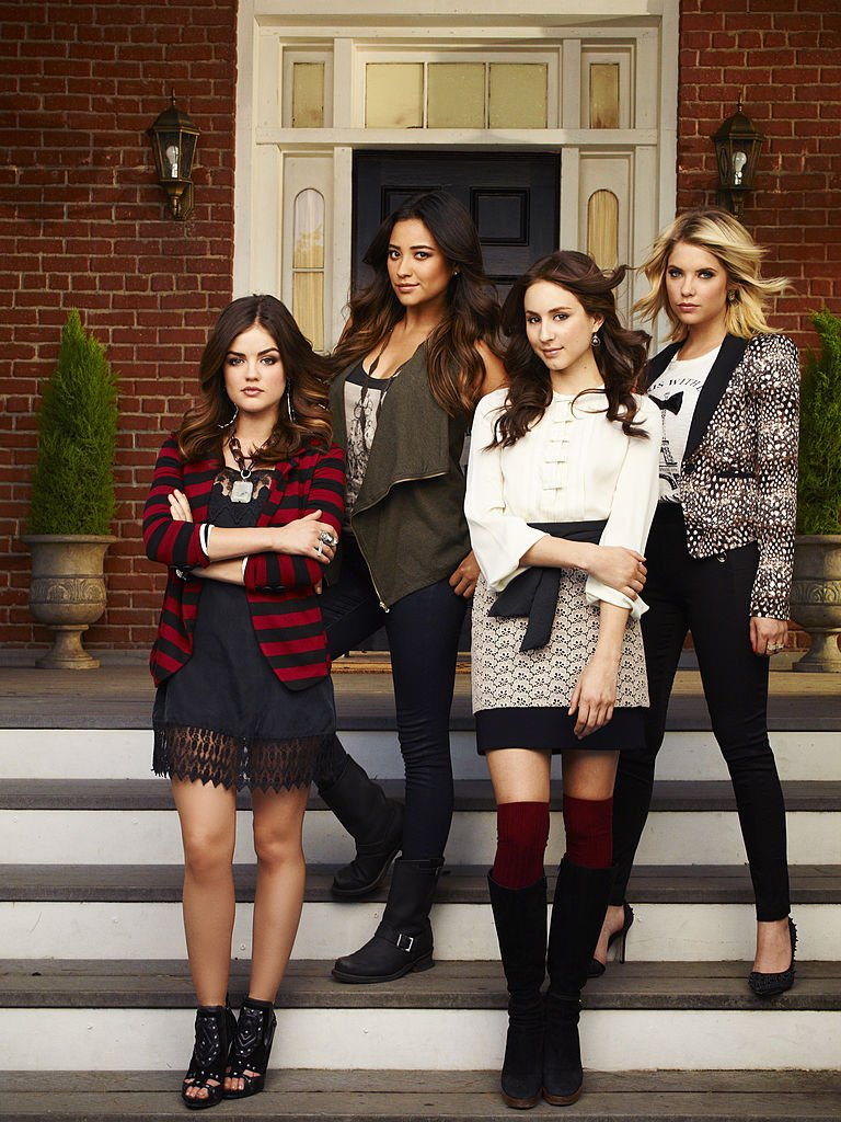 """""""Pretty Little Liars"""" stars Lucy Hale as Aria Montgomery, Shay Mitchell as Emily Fields, Troian Bellisario as Spencer Hastings and Ashley Benson as Hanna Marin, 2012 