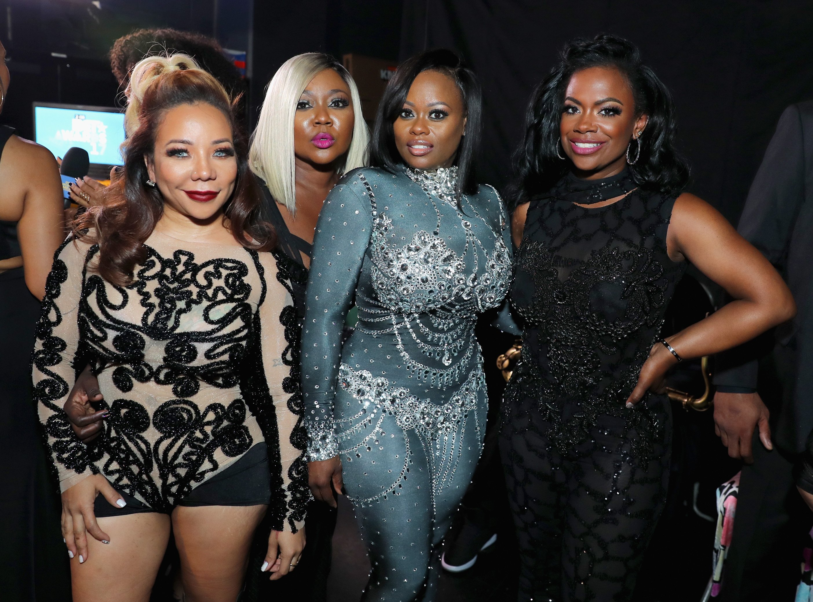 Tiny Harris, LaTocha Scott, Tamika Scott, and Kandi Burruss pose at the 2017 BET Awards at Microsoft Theater on June 25, 2017 in Los Angeles, California. | Source: Getty Images