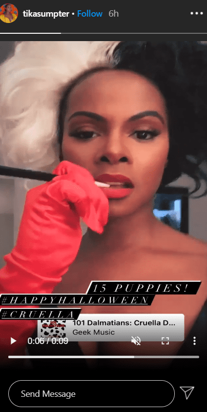 """Tika Sumpter dresses up as Cruella de Vil from """"The Hundred and One Dalmatians"""" for Halloween 2020. 