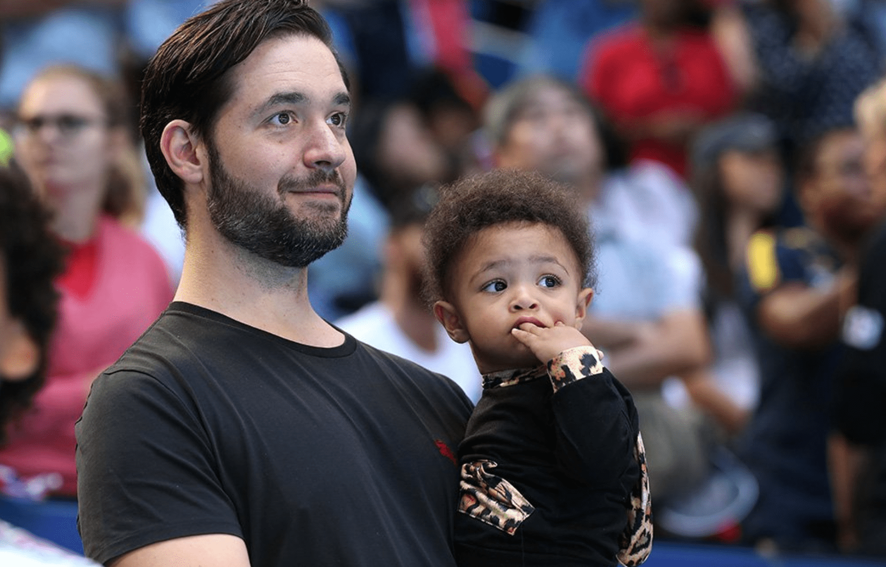 Alexis Ohanian and daughter Alexis Olympia Ohanian Jr. following the match between Serena Williams and Katie Boulter at RAC Arena on January 03, 2019 in Perth, Australia. | Source: Getty Images.