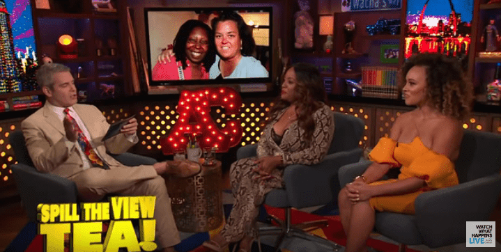 Andy Cohen asking Sherri Shepherd about stories in the tell-all book on 'Watch What Happens Live' on August 11, 2019 | Photo: YouTube/Watch What Happens Live with Andy Cohen
