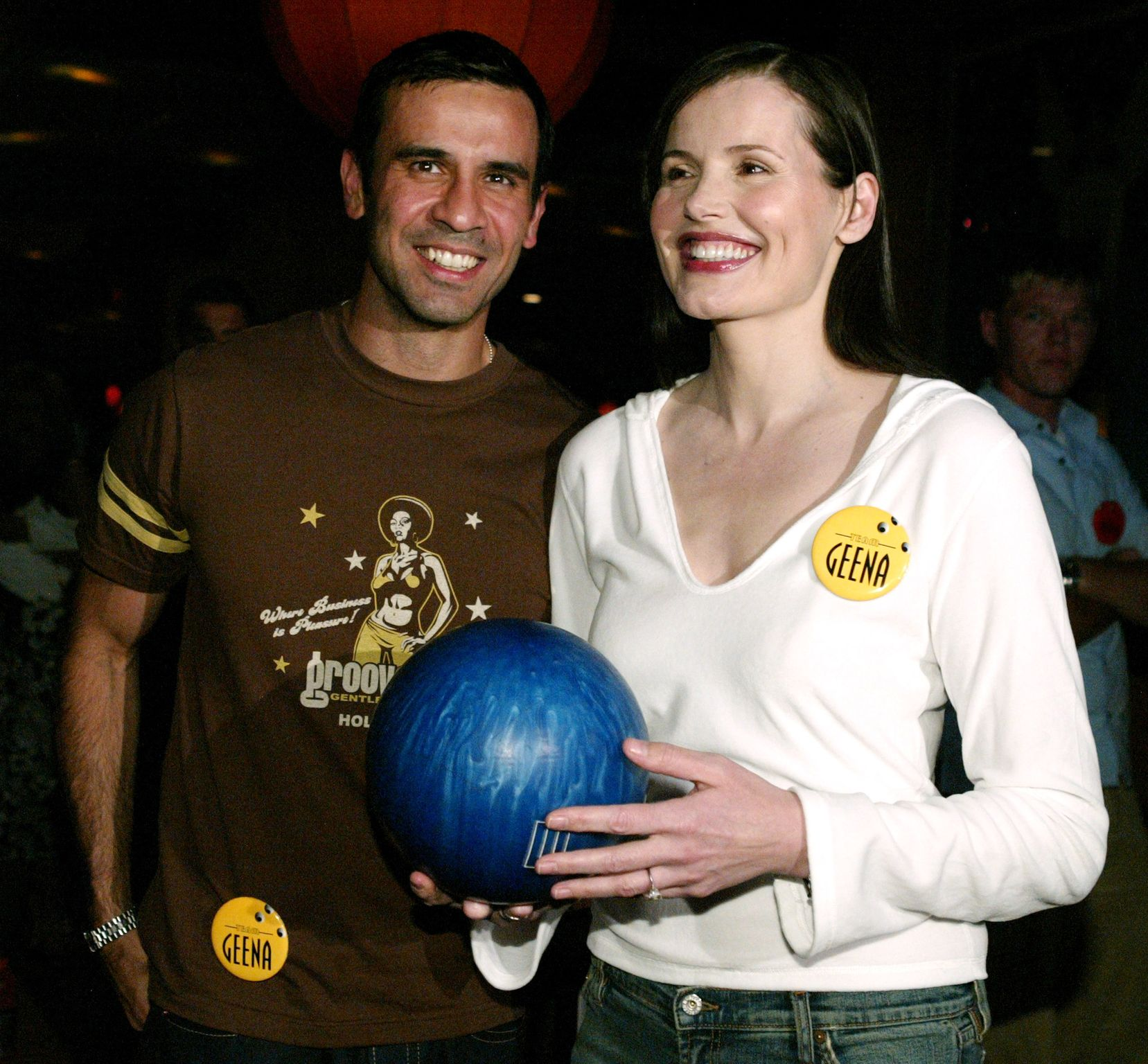 Dr. Reza Jarrahy and Geena Davis at the 2003 ESPY Awards - Pre-Party in Hollywood | Source: Getty Images