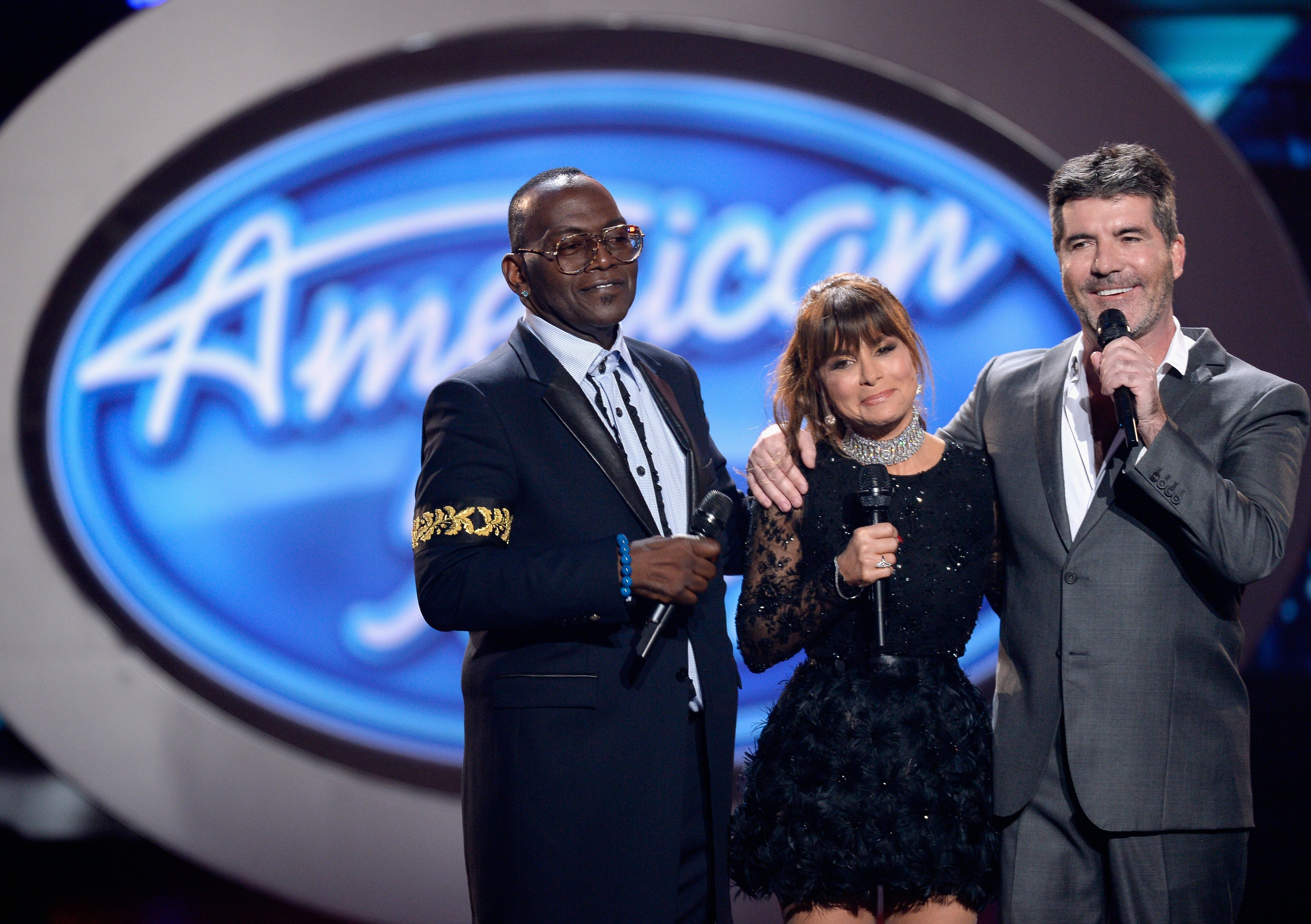 """Randy Jackson, Paula Abdul and Simon Cowell during FOX's """"American Idol"""" Finale on April 7, 2016. 
