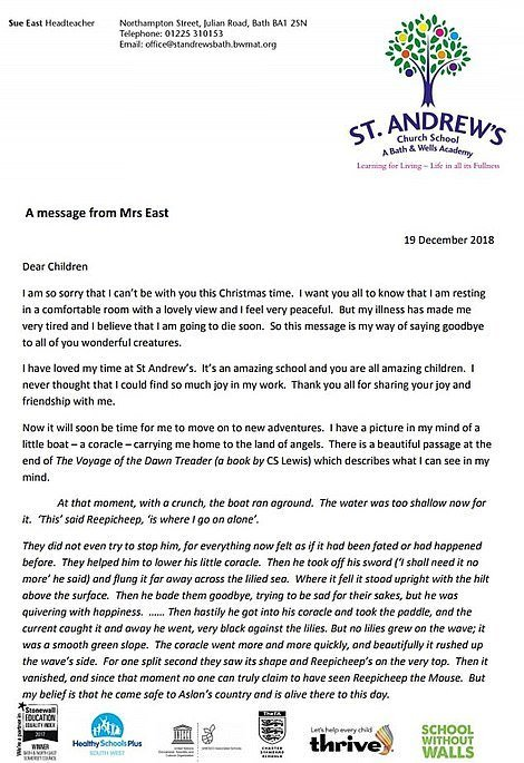 La lettre que Sue a écrit à ses élèves. Source: Daily Mail