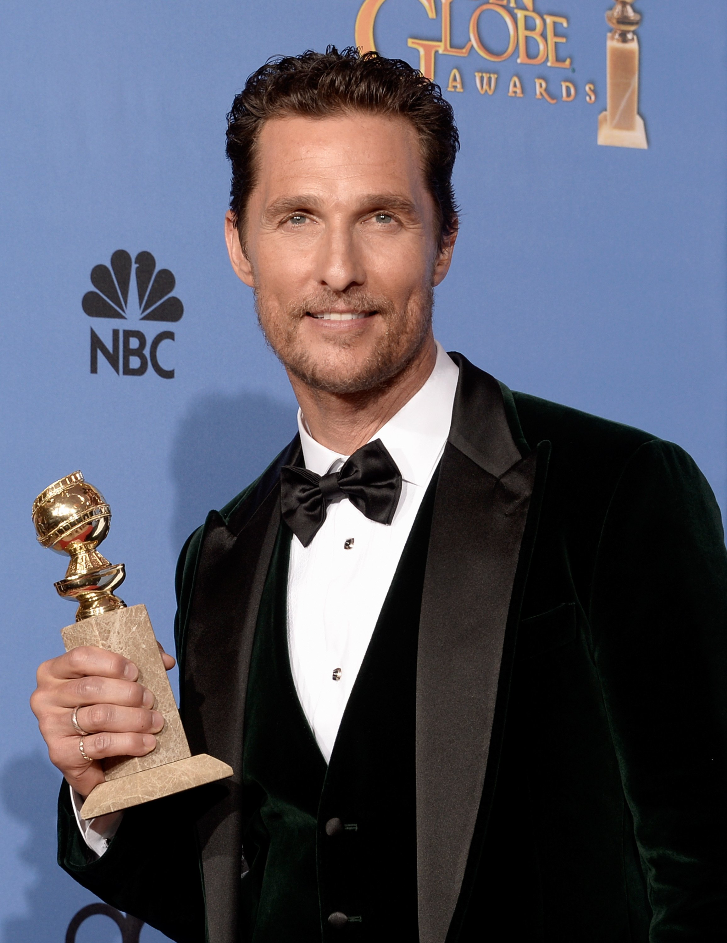 "Actor Matthew McConaughey wins the 2014 Golden Globe Awards for Best Actor for ""Dallas Buyers Club."" 
